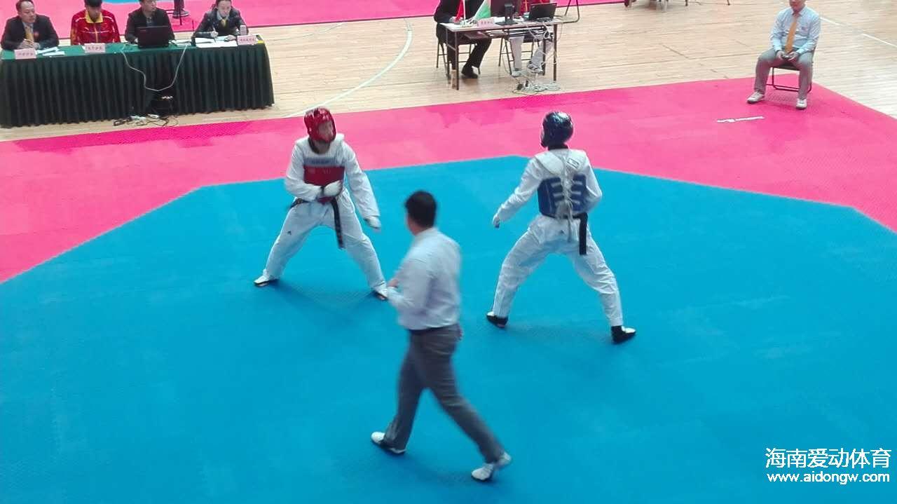 2017年全国跆拳道锦标赛在山东举行 海南选手以赛代练备战全运