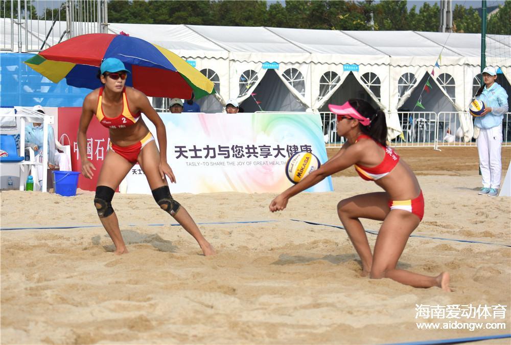 沙滩排球激战天津东疆湾 海南沙排出战