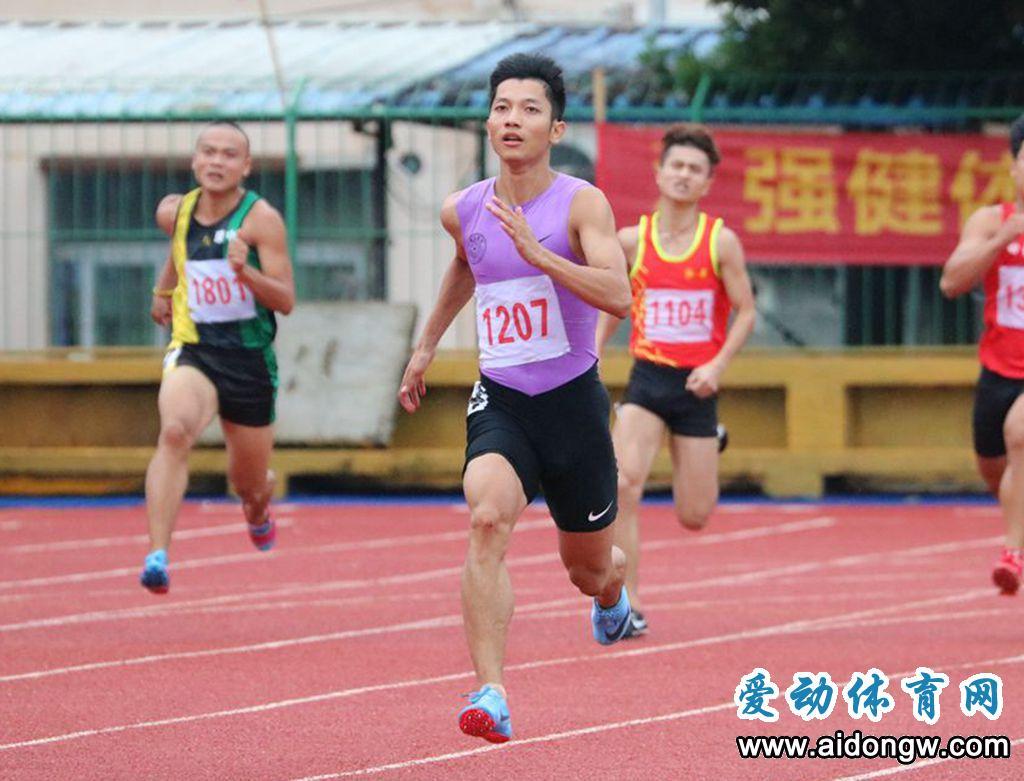 """江亨南雨中夺省运会百米冠军""""海南飞人""""刷新200米省纪录"""