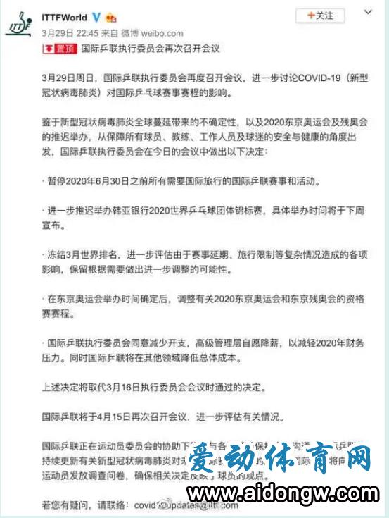 国际乒联暂停6月30日前所有赛事