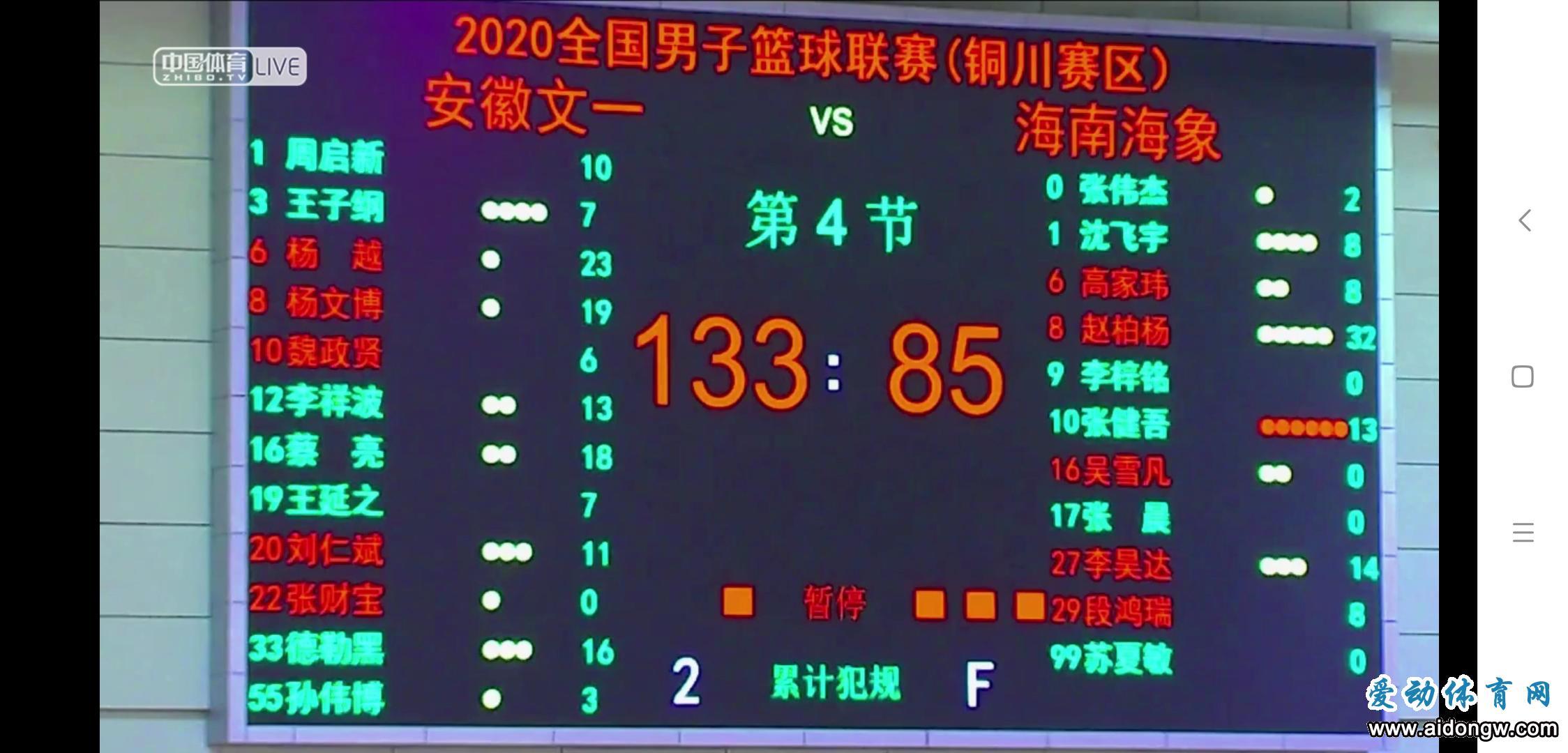 海南海象85:133不敌安徽文一,赵柏杨得全场最高32分