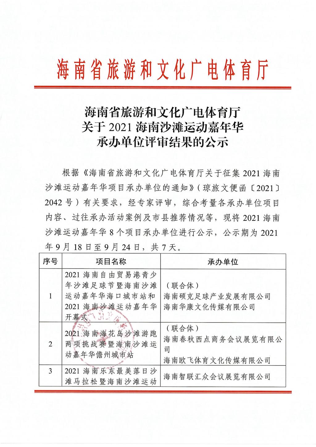 海南省旅文厅公示2021海南沙滩运动嘉年华承办单位评估结果