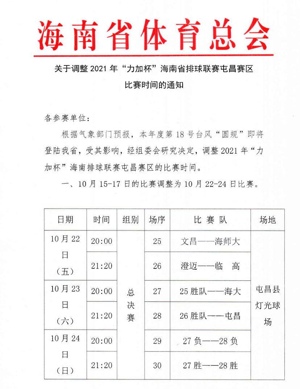 """注意!2021年""""力加杯""""海南省排球联赛屯昌赛区延期举行"""